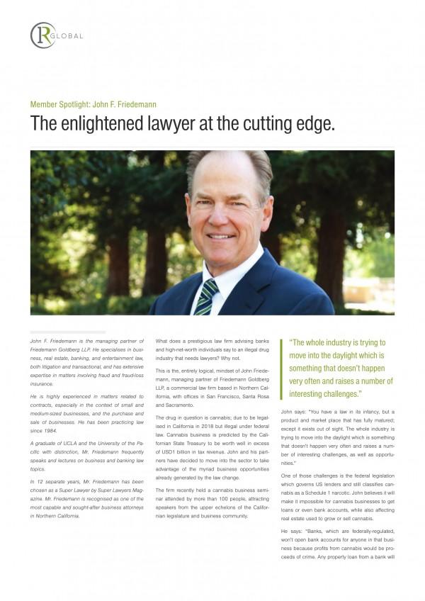 John F. Friedemann Member Spotlight: The enlightened lawyer at the cutting edge.