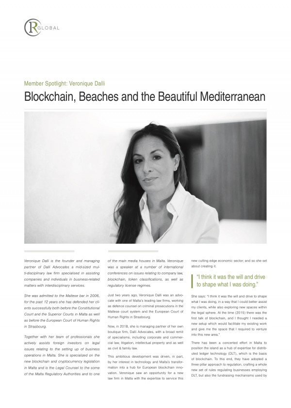 Member Spotlight: Veronique Dalli Blockchain, Beaches and the Beautiful Mediterranean
