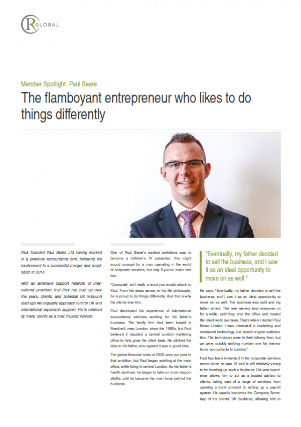 Member Spotlight: Paul Beare - The flamboyant entrepeneur who likes to do things differently