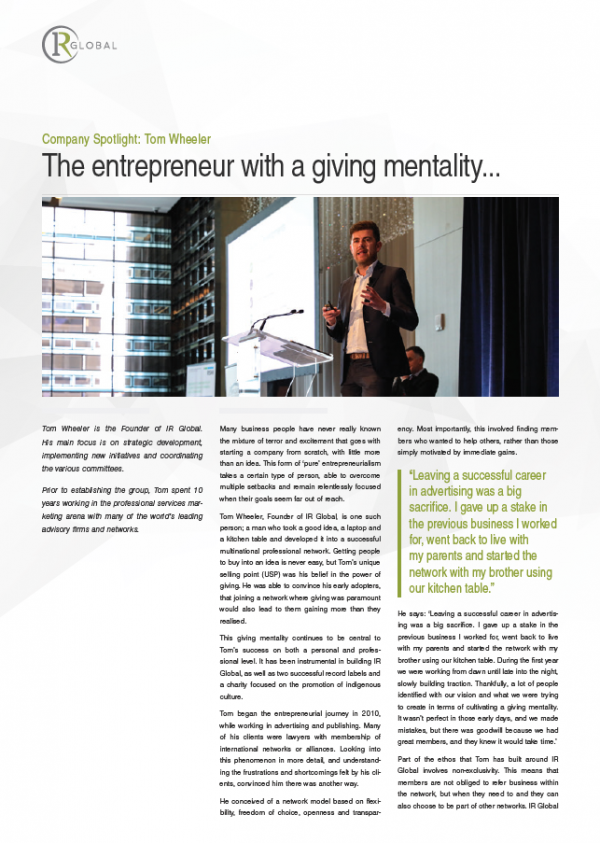 Company Spotlight: Tom Wheeler, The entrepreneur with a giving mentality...