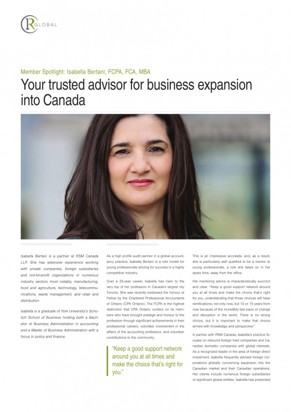 Member Spotlight: Isabella Bertani, FCPA, FCA, MBA - Your trusted advisor for business expansion into Canada