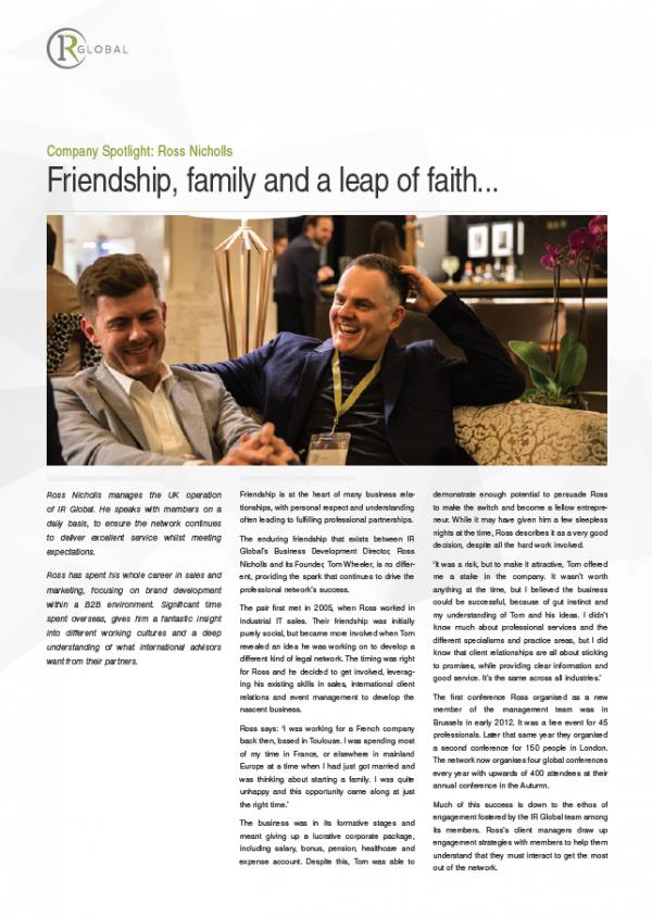 Company Spotlight: Ross Nicholls, Friendship, Family and a Leap of Faith