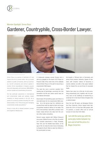 Simon Rous Member Spotlight: Gardener, Countryphile, Cross Border Lawyer