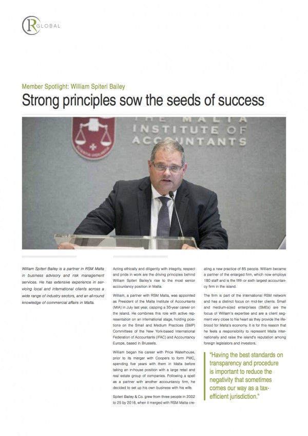 Member Spotlight: William Spiteri Bailey Strong principles sow the seeds of success