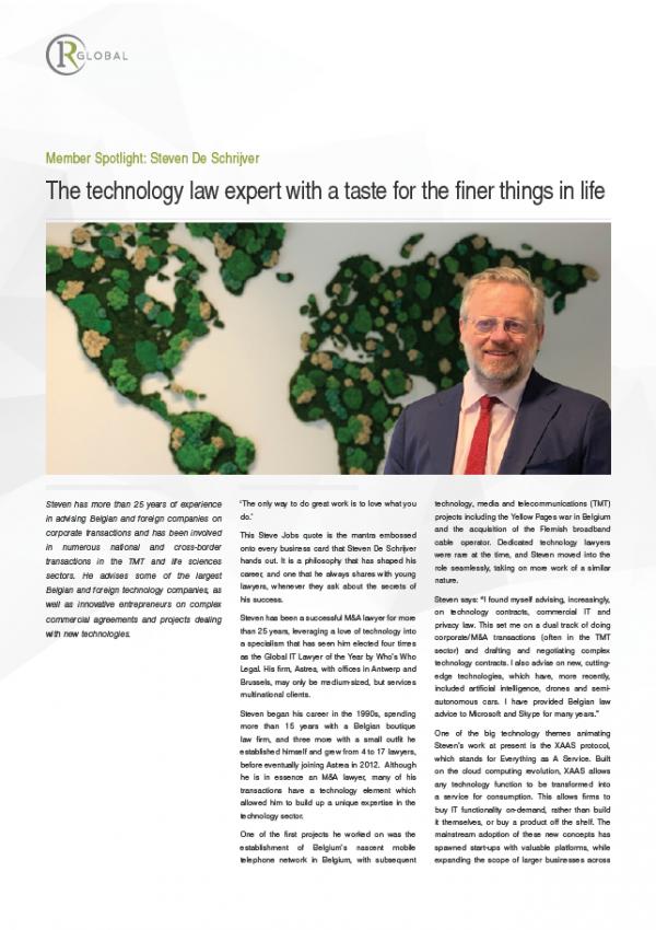 Member Spotlight: Steven De Schrijver - The technology law expert with a taste for the finer things in life