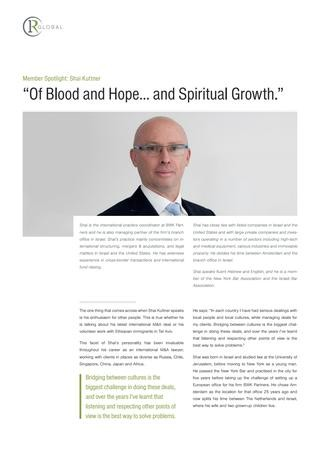 "Shai Kuttner Member Spotlight: ""Of Blood and Hope… and Spiritual Growth."""