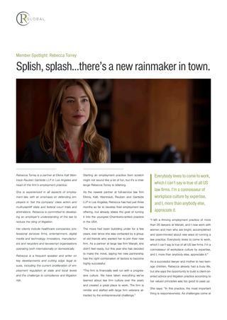 Rebecca Torrey Member Spotlight: Splish, splash...there's a new rainmaker in town