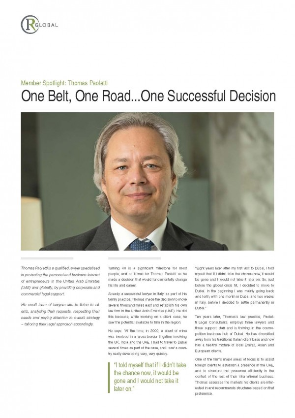 Member Spotlight: Thomas Paoletti One Belt, One Road...One Successful Decision