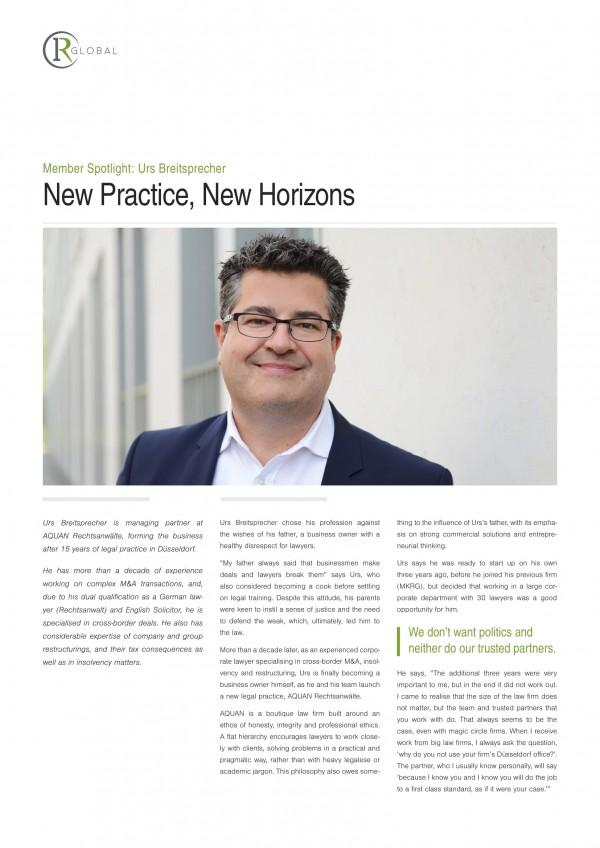Member Spotlight: Urs Breitsprecher - New Practice, New Horizons