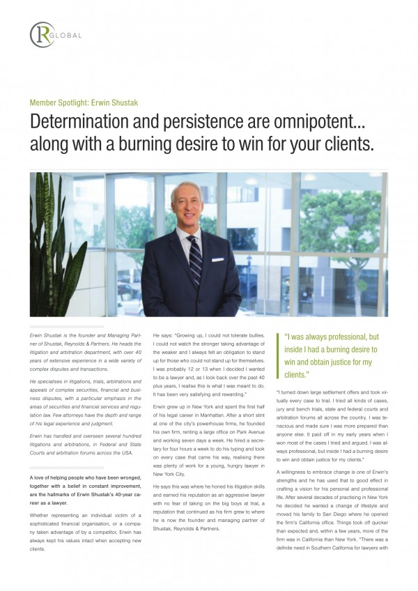 Erwin Shustak Member Spotlight: Determination and persistence are omnipotent... along with a burning desire to win for your clients