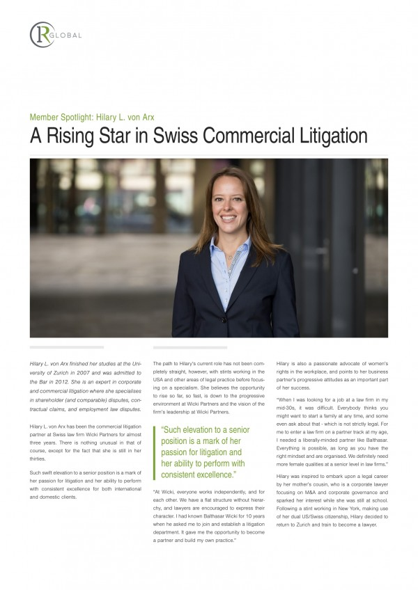 Member Spotlight: Hilary L. von Arx - A Rising Star in Swiss Commercial Litigation
