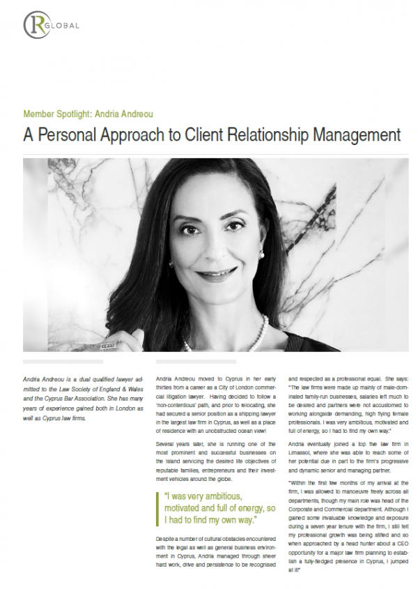 Member Spotlight: Andria Andreou - A Personal Approach to Client Relationship Management