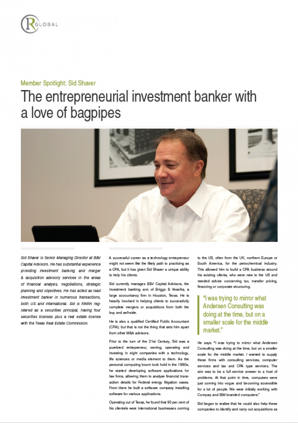 Member Spotlight: Sid Shaver - The entrepreneurial investment banker with a love of bagpipes