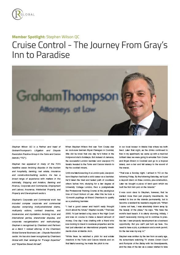 Member Spotlight:  Stephen Wilson QC  - Cruise Control - The Journey From Gray's Inn to Paradise