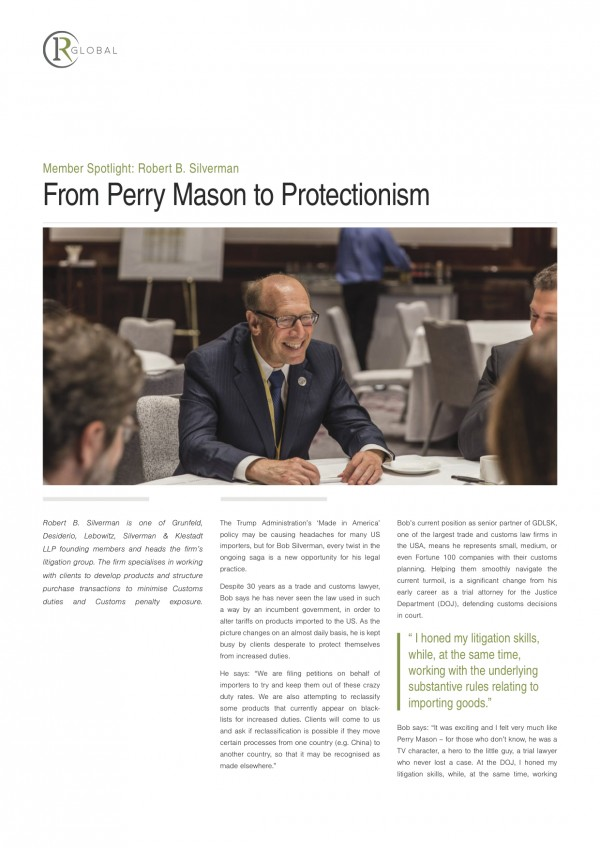 Member Spotlight: Robert B. Silverman - From Perry Mason to Protectionism