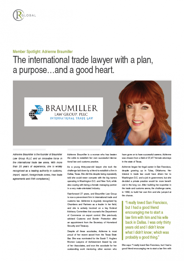 Member Spotlight: Adrienne Braumiller - The international trade lawyer with a plan, a purpose...and a good heart.